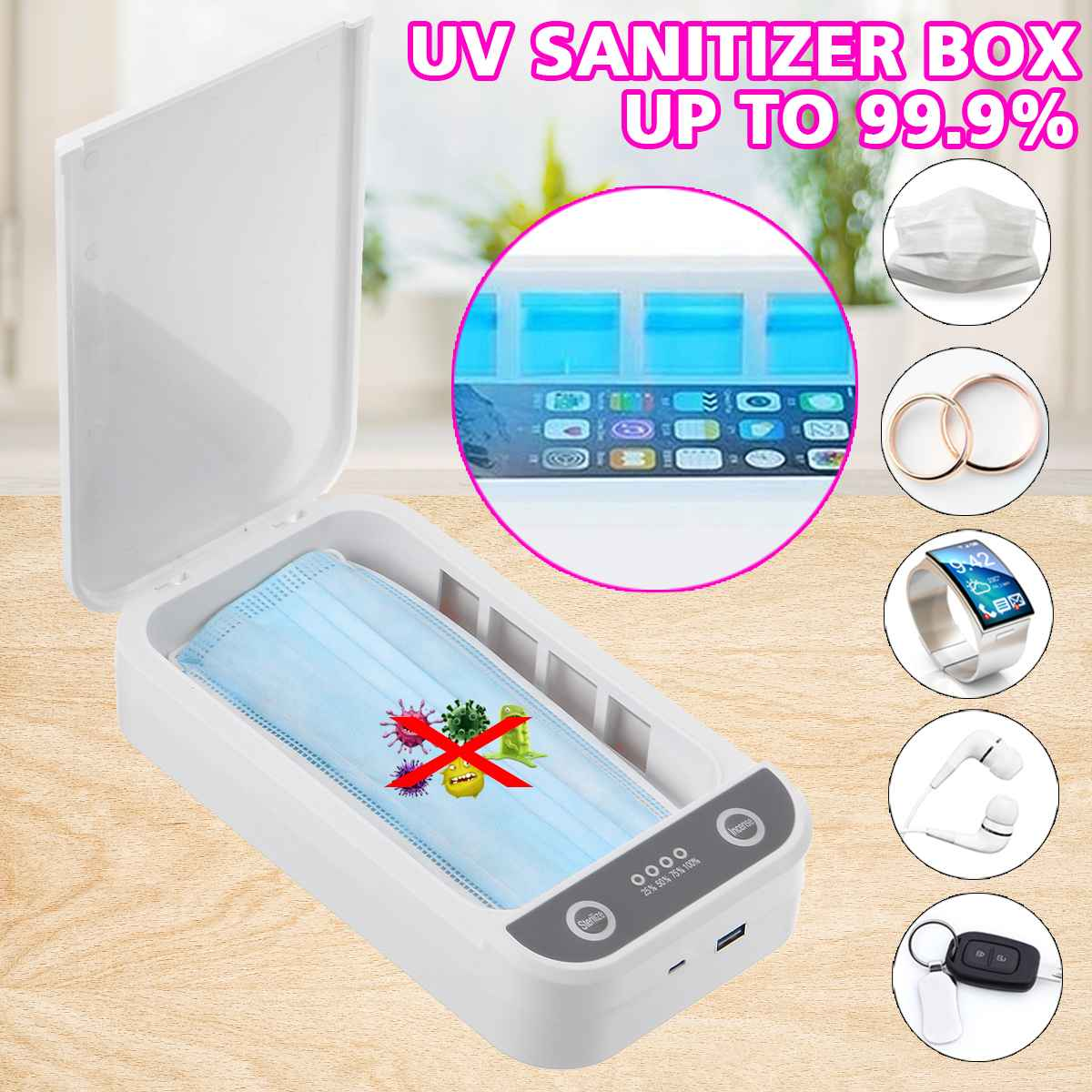 9W Rechargeable UV Disinfector Sterilizer Multi-function Sterilizer Sterilisator Cosmetic Cleaner For Mobile Phone Toothbrush
