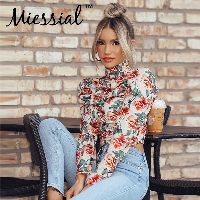 Miessial Flower Print White Vintage Pearl Blouse Shirt Women Long Puff Sleeve Elegant Party Blouse Spring Sexy Ladies Crop Tops