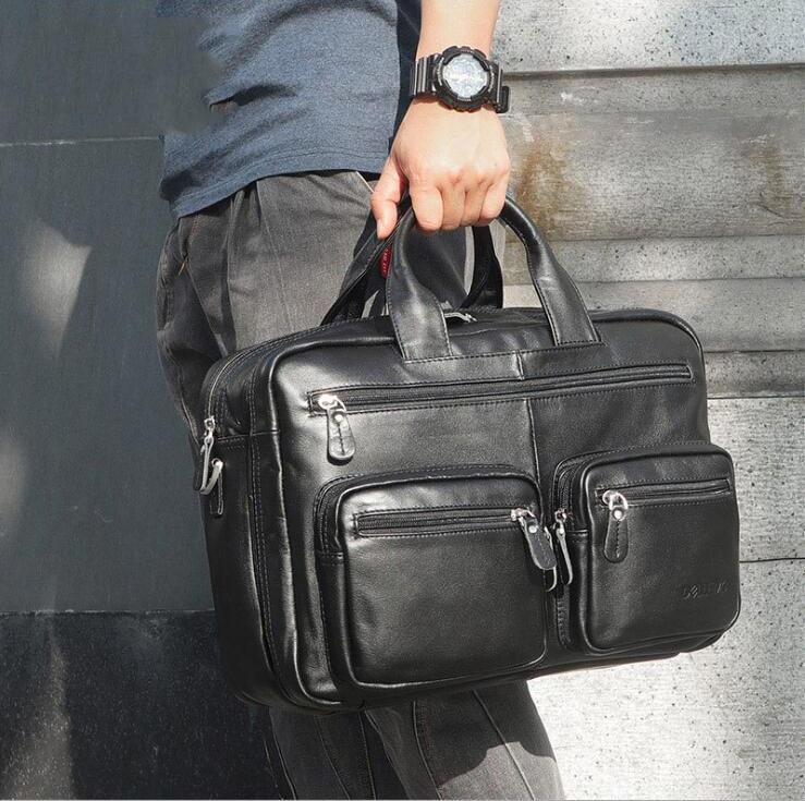 MAHEU High Quality Business Bag Handbag Men Office Laptop Bag For 15 Inch Briefcase Bag Real Leather Black Shoulder Briefcases