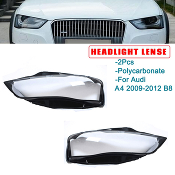 2Pcs Car Clear Headlight Lens Cover Replacement head light lamp Shell Cover For-Audi A4 B9 2013-2015
