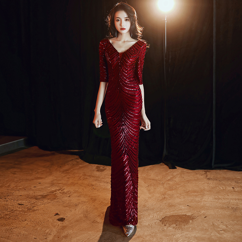 Wei Yin AE0347 Wine Red Evening Dresses 2020 Half Sleeve V-neck Sparkle Elegant Little Mermaid Long Formal Party Prom Gowns