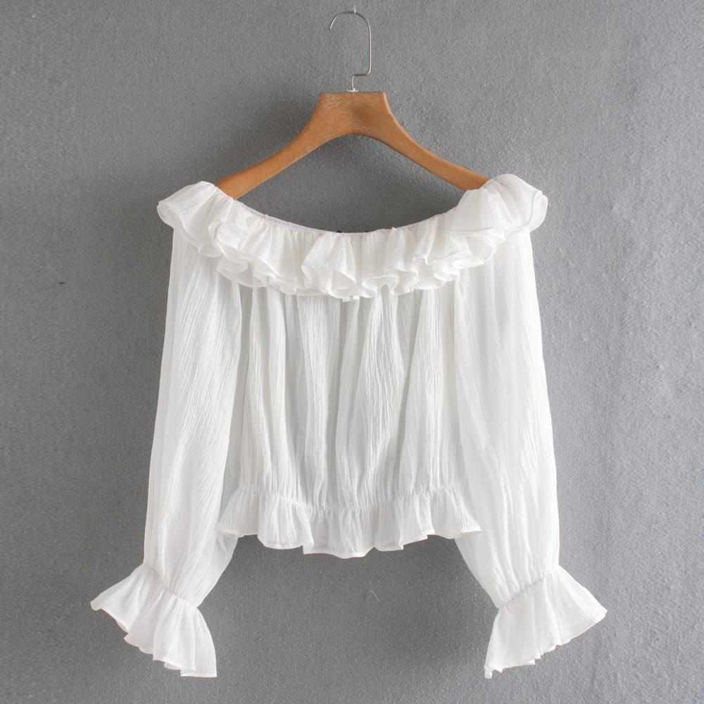 2020 Women Solid Cascading Ruffles Casual Smock Blouse Shirts Women Long Sleeve Off Shoulder Chic Femininas Blusas Tops LS6437