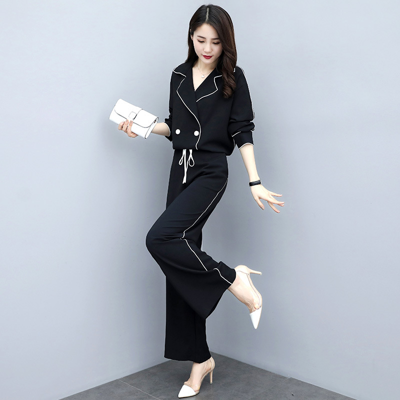 Women's Spring And Autumn 2019 New Style Korean-style Fashion Casual Wear WOMEN'S Dress Slimming Two-Piece Set Fashion