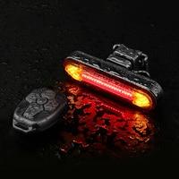 Luz trasera de señal de giro para bicicleta, linterna de advertencia de seguridad LED, recargable vía USB