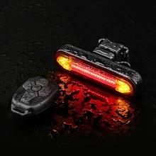 Lumière de vélo à distance clignotant vélo feu arrière pour vélo USB Rechargeable lumière arrière vélo LED avertissement de sécurité vélo lanterne