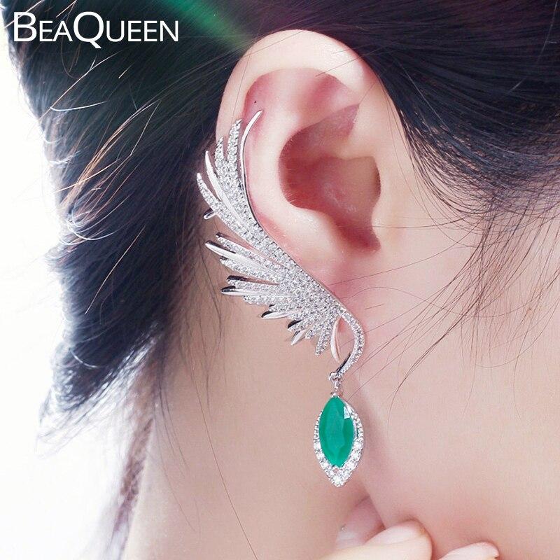 Beaqueen 깃털 모양 큰 녹색 후작 돌 드롭 긴 천사 날개 귀 커프 스터드 귀걸이 큐빅 지르코니아 파티 쥬얼리 e341