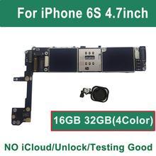 16 기가 바이트 32 기가 바이트 128 기가 바이트 iCloud 아이폰 6S 마더 보드 터치 id에 대한 잠금 해제 블랙 골드 핑크 화이트 ios 로직 보드 메인 보드