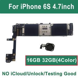 Image 1 - 16GB 32GB 128GB iCloud Unlocked For iPhone 6S motherboard Touch Id Black Gold Pink White ios logic board Mainboard