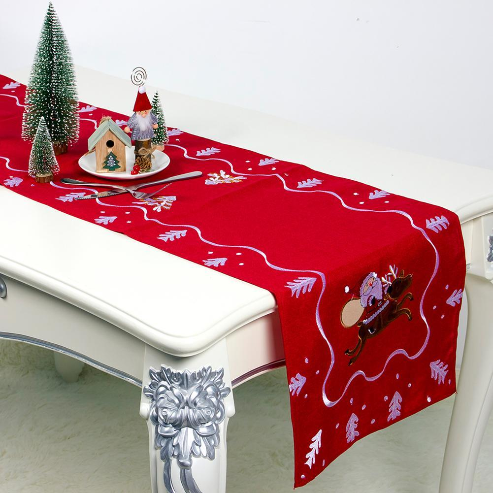 Boutique Embroidery Table Runner Christmas Santa Claus Pattern Red Gray Blue Table Runners Dining Room Restaurant Table Gadget