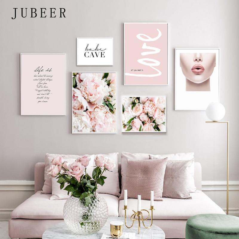 Pembe yaprakları posterler ve baskılar çiçek kanvas baskılar İlham tırnak dekorasyon resim oturma odası için posteri ev dekor