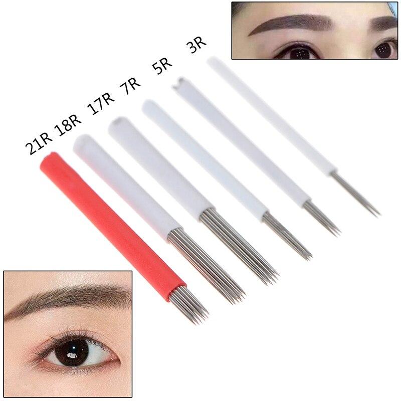 10PCS Microblading Eyebrow Tattoo Needles Permanent Makeup Manual Blades Shading Needle