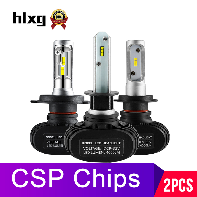 Hlxg 2Pcs CSP H8 H11 Lamp H4 Led H7 H1 H3 Car Headlight Bulbs For Auto S1 N1 H27 881 HB3 HB4 Led Automotive 12V 50W 8000LM 6000K
