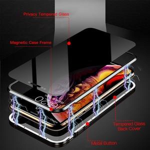 Image 3 - Магнитный адсорбционный металлический чехол из закаленного стекла для телефона, чехол 360, магнитный антишпионский чехол для iPhone XR XS X 11 Pro MAX 8 7 6 S