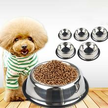 Pet Supplies Dog Cat Bowls Non-Slip Stainless Steel Travel Feeding Feeder Water Bowl For Pet Dog Cats Puppy Outdoor Bowl 6 Sizes 2019 dog puppy cat tablet medicine capsules liquid feeding tool pet pusher shooter pills feeder pet supplies