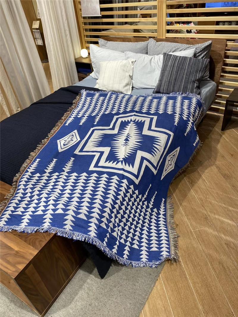 Navy Cotton Kilim Sofa Cover Blanket Geometric Pattern Blanket Living Room Bedroom Rug Carpet Bedspread Tablecloth Tapestry Blankets Aliexpress