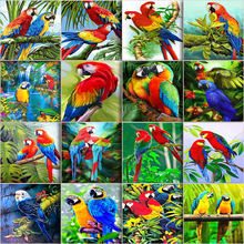 Parrot-Kits Oil-Paintings Bird-Drawing Hand-Painted By Number Canvas Home-Decor DIY on