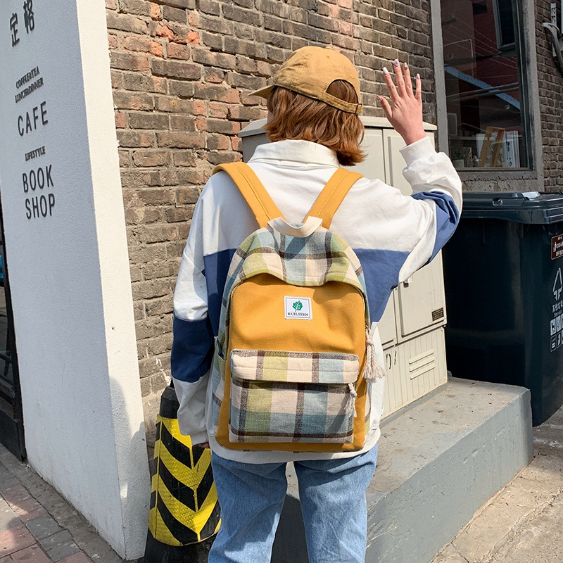 2019 fashion classic women's backpack student retro backpack girl large capacity travel backpack plaid color matching backpack image