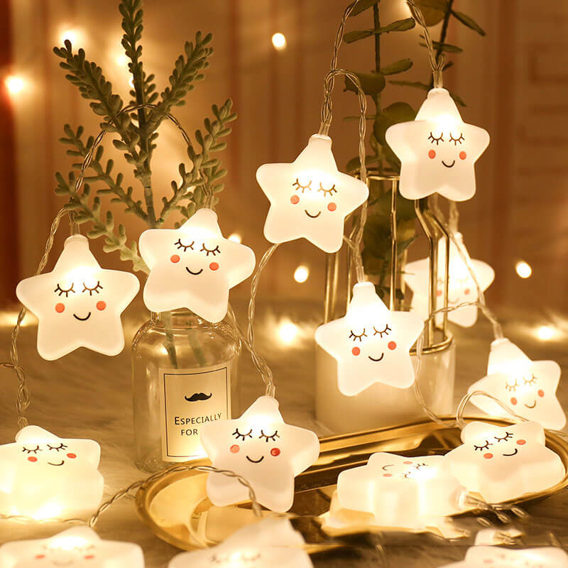 Cute LED Star Light String Twinkle Garlands Battery Powered Christmas Lamp Holiday Party Wedding Decorative Fairy Lights Night L