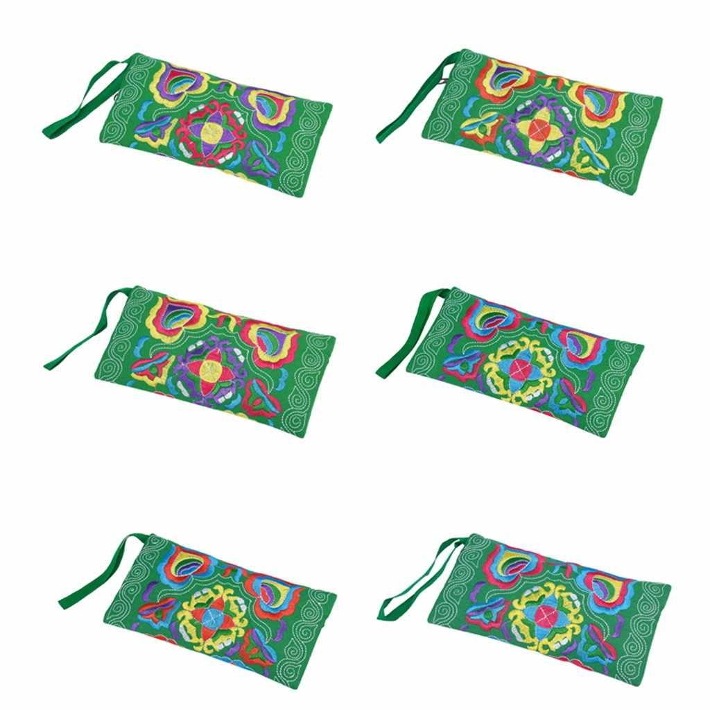 Feminino étnico bordado wristlet sacos de embreagem feminino fino bolsa titular do cartão moeda do vintage bolsa carteira dinheiro bolsas