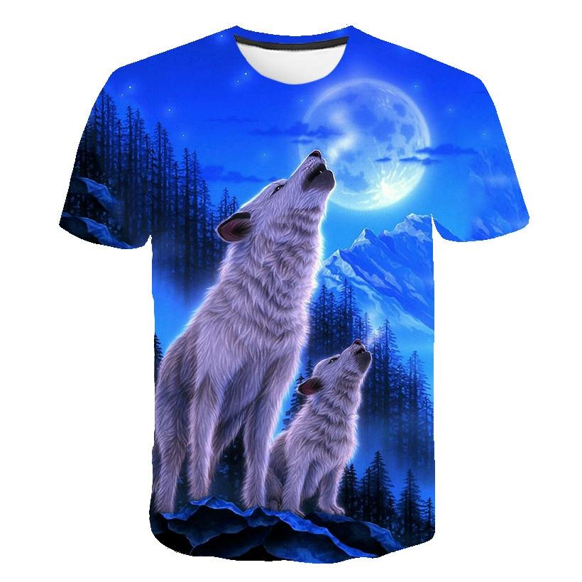 2019 New Men's 3D Wolf Head Print Men's T-shirt Hip Hop Fashion Casual Cotton T-shirt Tee Black White S-6XL