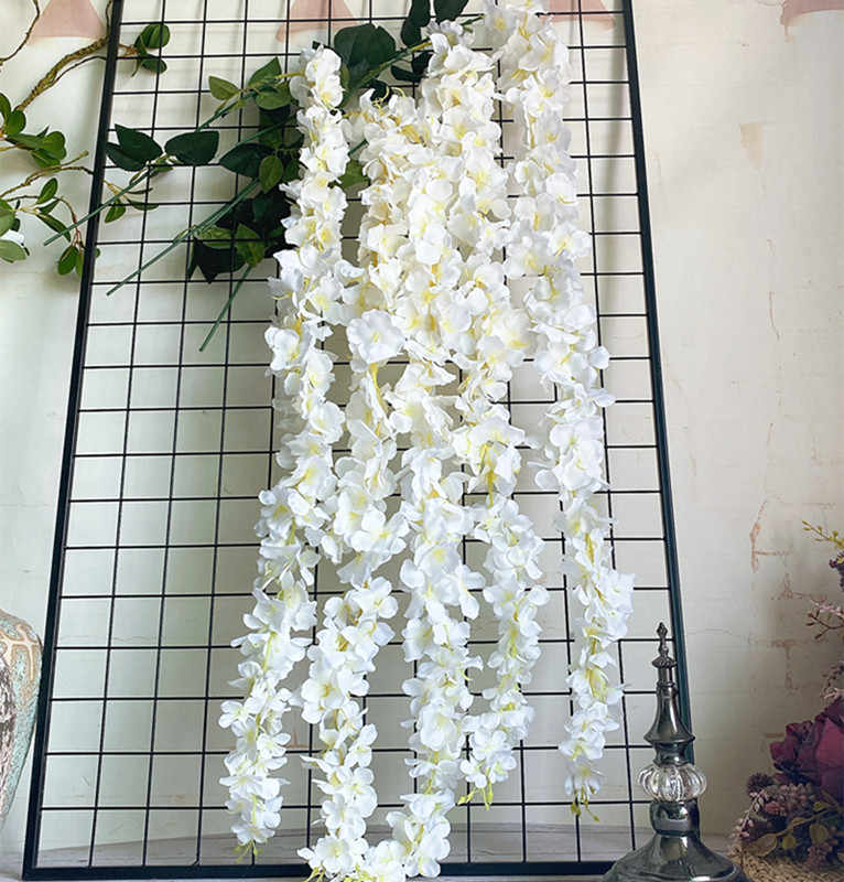 סיטונאי לבן ויסטריה פרח קש עם עלים משי מלאכותי פרחים celing קיר תלוי פרח גפן חתונת קישוט