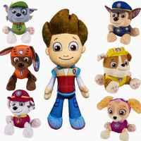 7 unids/lote juguetes niños juguetes de pata patrulla canina juguetes perros Puppy Patrol con placa de figuras de acción de cumpleaños de la muñeca articulaciones móviles