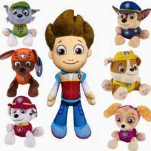 7 pçs/lote juguetes Crianças Pata Brinquedos brinquedos do Filhote de Cachorro Cães de Patrulha canina Patrulha Com Placa de Aniversário Figuras de Ação Boneca Articulações Móveis