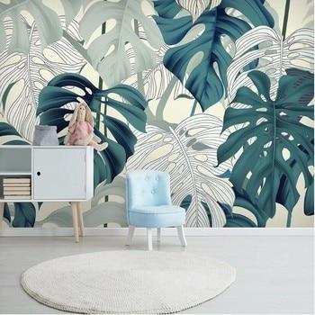 milofi custom Nordic tropical plant leaves large TV background wallpaper mural tropical leaves tote bag