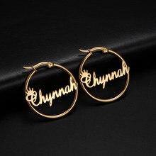 Cazador nome personalizado brincos de argola personalizado cor de ouro aço inoxidável para brincos feminino carta placa de identificação círculo jóias
