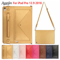 New Tablet Case for For New iPad Pro 12.9 2018 A1983 A2014 Luxury Leather Protective Stand Cover Funda With Pencil Holder+Film