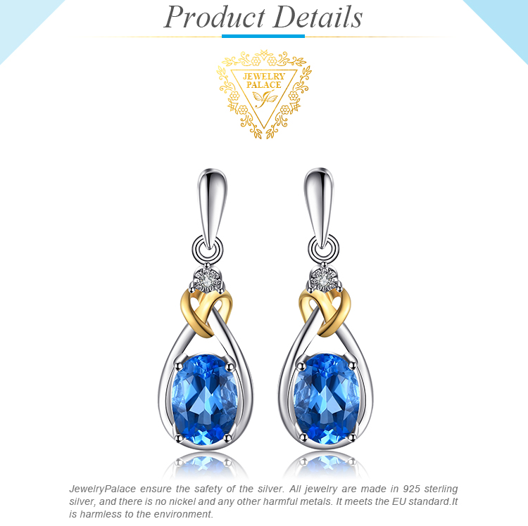 JPalace Love Knot Genuine Blue Topaz Diamond Drop Earrings 925 Sterling Silver Earrings For Women Earings Fashion Jewelry 19 3