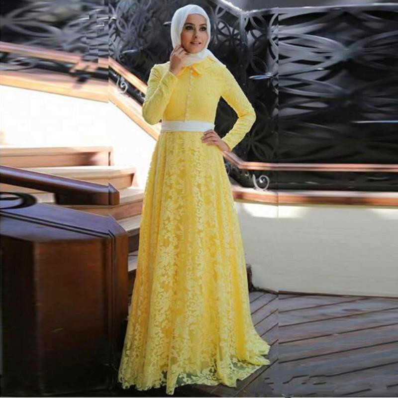 Yellow 2019 Muslim   Evening     Dresses   A-line High Collar Long Sleeves Lace Hijab Dubai Saudi Arabic Long   Evening   Gown Prom