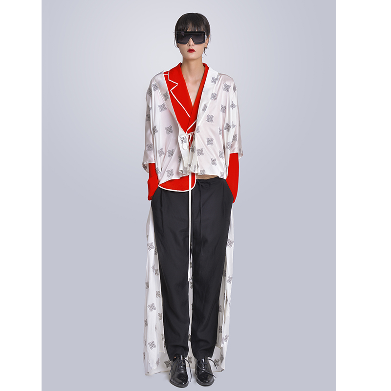 MISHOW Milan Fashion Week Spring/Summer 2020 Female Three Piece Set Turn Down Collar Blouse Irregular Cloak Long Pant Look-6