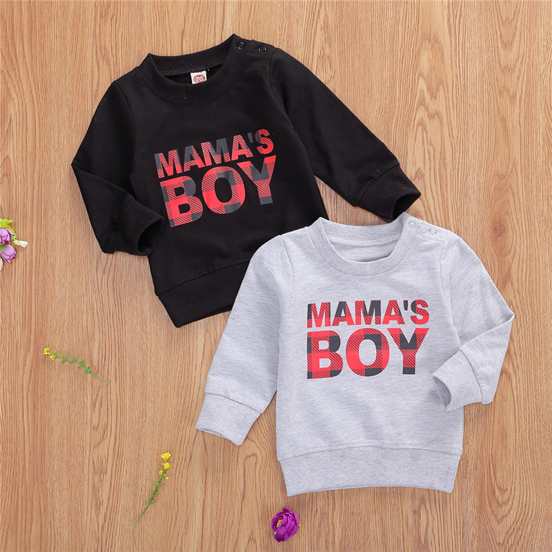 BY Toddler Baby Boys Hoodies Christmas Long Sleeve Sweatshirts Round Neck Letter Printed Casual Pullover Shirt Tops Boys Tops