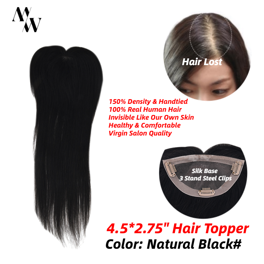 MW Virgin Clip On Top Hair Pieces Straight Remy Natural Human Hair Topper Wigs 16