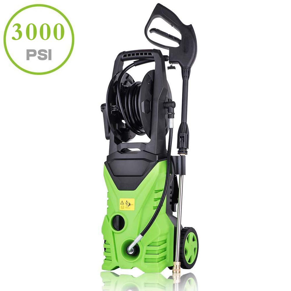 High Pressure Washer Cleaner Car Washer 1800W Powerful 3000PSI 1.7GPM Spray Gun Detergent Bottle Turbo Water Hose Washing