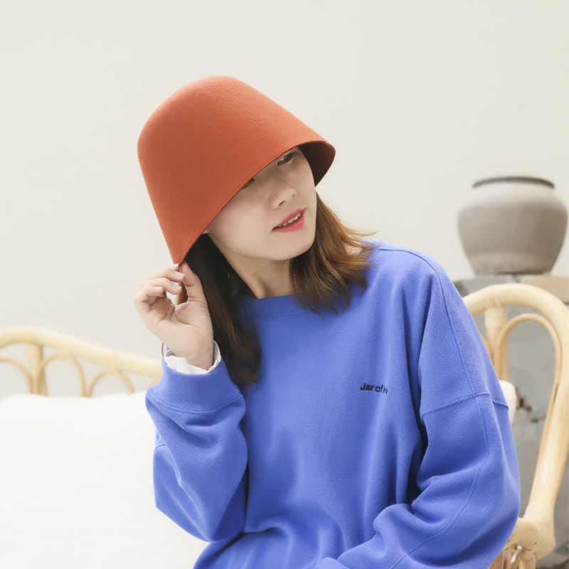 قبعة المرأة 2019 جديد صياد قبعة الخريف والشتاء في الهواء الطلق الصوف قبعة بحافة اليابانية بلون جرس على شكل كاب الرجال قبعة بحافة