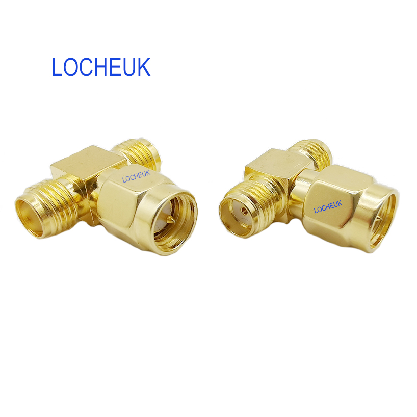 T Type SMA Male Plug To 2 Dual (Two) SMA Female Jack RF Coaxial Connector 3 Way Splitter Antenna Converter Gold-Plated Brass