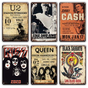 Rock N Roll Metal Poster TIn Sign Vintage Lennon Doors Kiss Queen Band Metal Sign Shabby Chic Man Cave Home Metal Wall Decor(China)