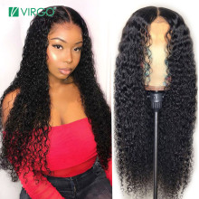 Wig Glueless Human-Hair-Wig Curly Density Lace-Front Pre-Plucked Virgo Peruvian