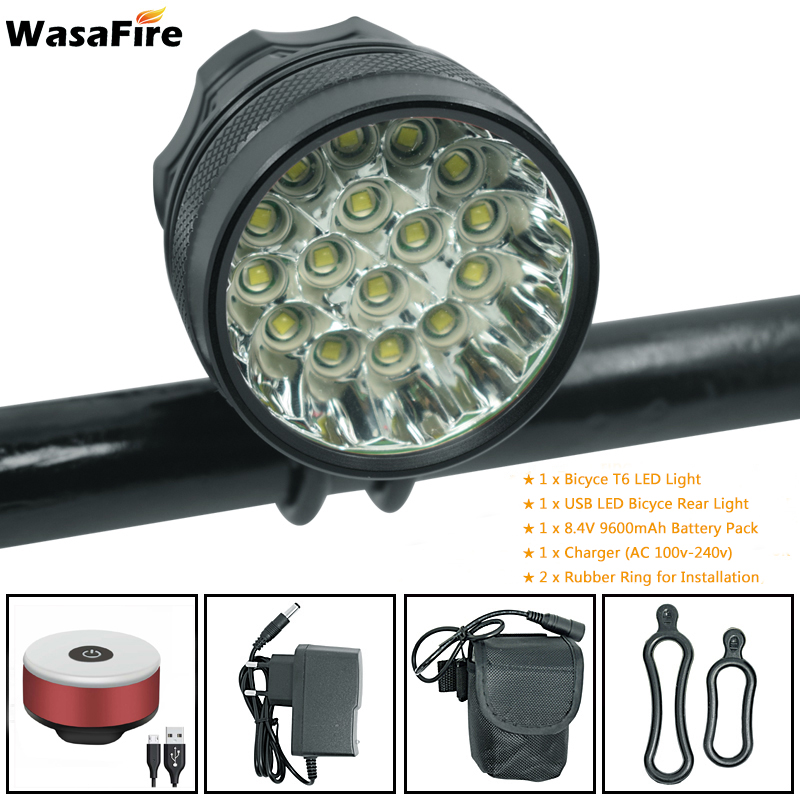 WasaFire 40000 Lumen 16*<font><b>T6</b></font> <font><b>LEDs</b></font> <font><b>Bicycle</b></font> <font><b>Light</b></font> Lamp Front Headlight Night Riding Cycling Flashlight + USB Bike Rear Tail <font><b>Lights</b></font> image