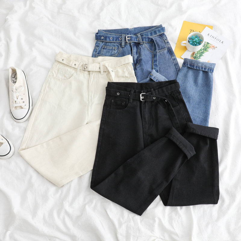 Korean Straight Jeans Women Low Waist Denim Trousers Large Pocket Black Denim Pants Vintage With Belt Casual Plus Size 2020