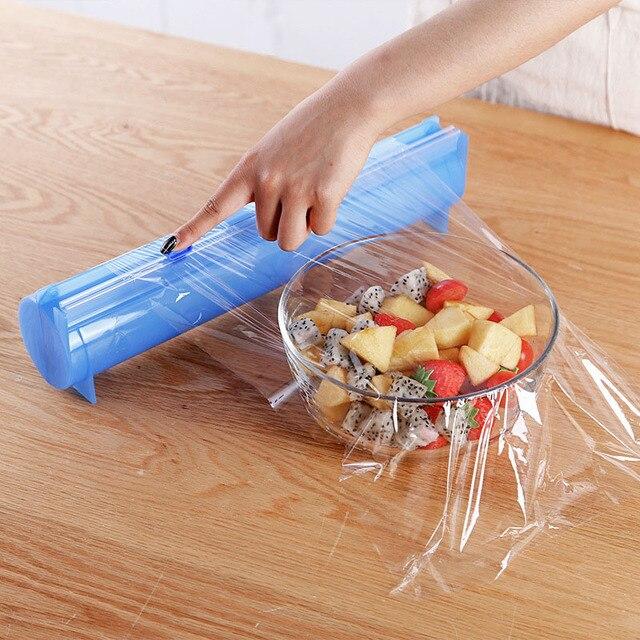 Envoltura de plástico dispensador de papel de aluminio titular de la caja de alimentos película de Film transparente de cocina película organizador azul