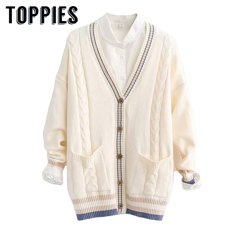 Casual Cardigan Sweater 2019 Autumn Winter Knitted Jacket Coat V Neck Spliced Cardigan Korean Student Sweater