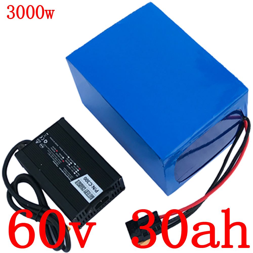 EU US NO Tax 60V battery 60V 30AH scooter Lithium battery 60V 30AH 2000W 2500W Electric Bicycle battery with 67.2V 5A charger
