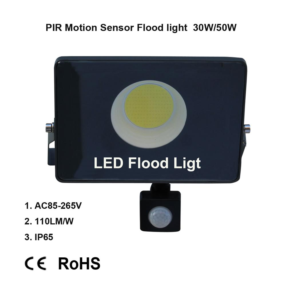 Motion Sensor LED Flood Light IP65 Waterproof 50W 30W 10W Reflector Floodlight Lamp AC 220V foco Led Exterior Outdoor Spot Light-in Floodlights from Lights & Lighting