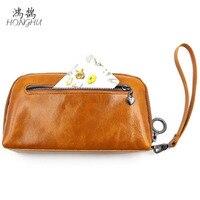 Classic genuine leather women and men zipper wallet long purse wrist bags