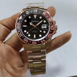 Parnis 40mm różowe złoto Case mechaniczne automatyczne zegarki męskie obracanie Bezel bransoleta ze stali nierdzewnej kalendarz mężczyzna zegarka 2019