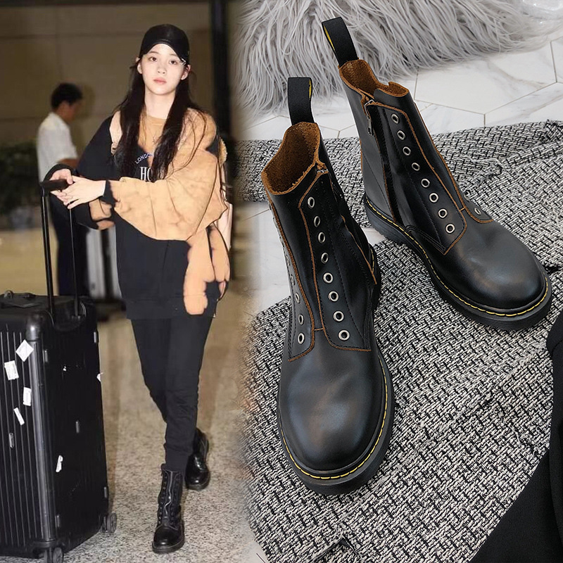 Ouyang Nana Celebrity Style Martin Boots Women's British-Style 8-Hole Non-Bandage Cloth 1460 Retro Handsome Short Boots