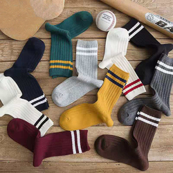 Japanese Loose Socks High School Girls Harajuku Socks Solid Colors Needles Knitting Striped Cotton Socks Women yellow blue black